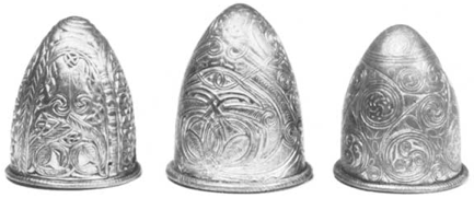 conical hats bearing triskelion symbol