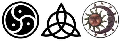 trefoil trinity sun moon star luminary worship symbol