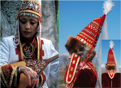 kazakhastan women wearing saukele pointed hat