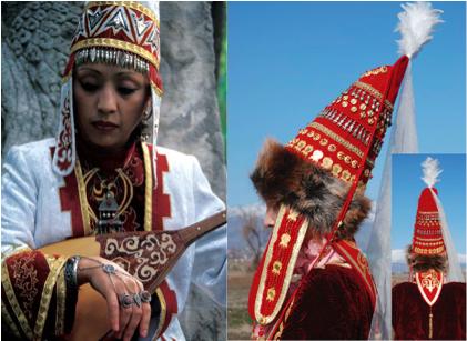 kazakhastan women wearing saukele pointed hat