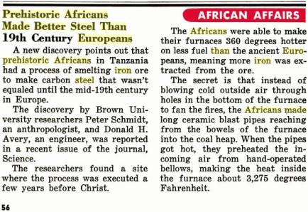 Israelites in Africa produced steel 2000 years before it was ever produced in Europe