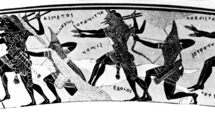 The Scythian archers on the image ABOVE taken from the Greek François Vase are depicted wearing their characteristic hat. In like manner, the image BELOW, an iron casting of Idia Iyoba, also depicts her wearing a headdress very similar to the characteristic Scythian hat; a tight-fitted pointed cap with long cheek flaps.