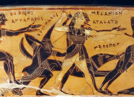Hunt of Meleager and Peleus Calydonian boar, hunters and Scythian archer, detail from the Francois vase, Attic volute crater, 570 BC-560 BC, by the potter Ergotimos (active ca 575 BC-ca 569 BC), decoration by Kleitias (active ca 575 BC-ca 560 BC), black-figure pottery, height 66 cm, diameter 57 cm. Greek civilisation, 6th century BC.|Florence, Museo Archeologico Nazionale (Archaeological Museum)