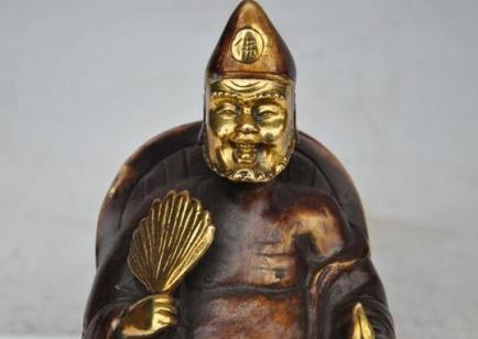 Chinese-Bronze-gilt-Monk-Arhat-JiGong-happy-Buddha-Fan-gourd-seat-chair-Statue