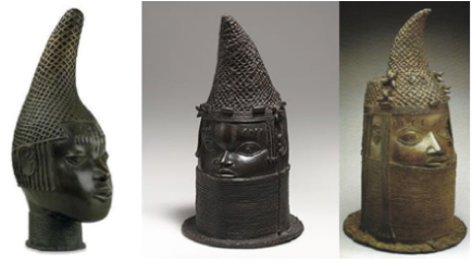 yoruba bronze heads pointed conical hat