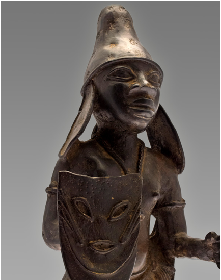 Benin Bronze Warrior wearing the Scythian Hat