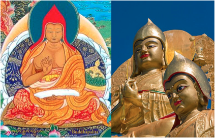 tibetan scythians red gold pointed hat side flaps