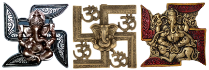 The Swastika is commonly called Om-Ganesh and is used in Ganesha's ceremony of worship or puja.
