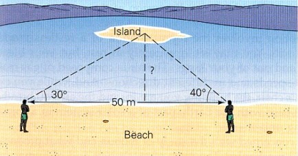 distance to island triangulation measurement
